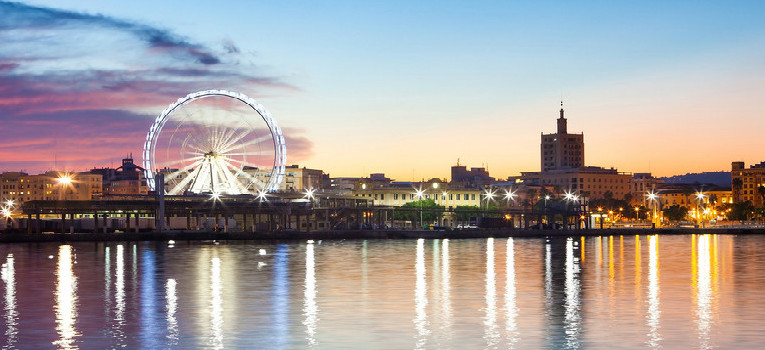 Malaga Port with Malaga's big wheel