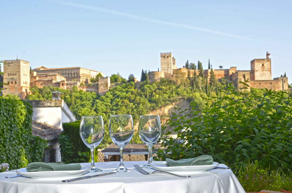 Lunch enjoying the sights over the Alhambra, Granada