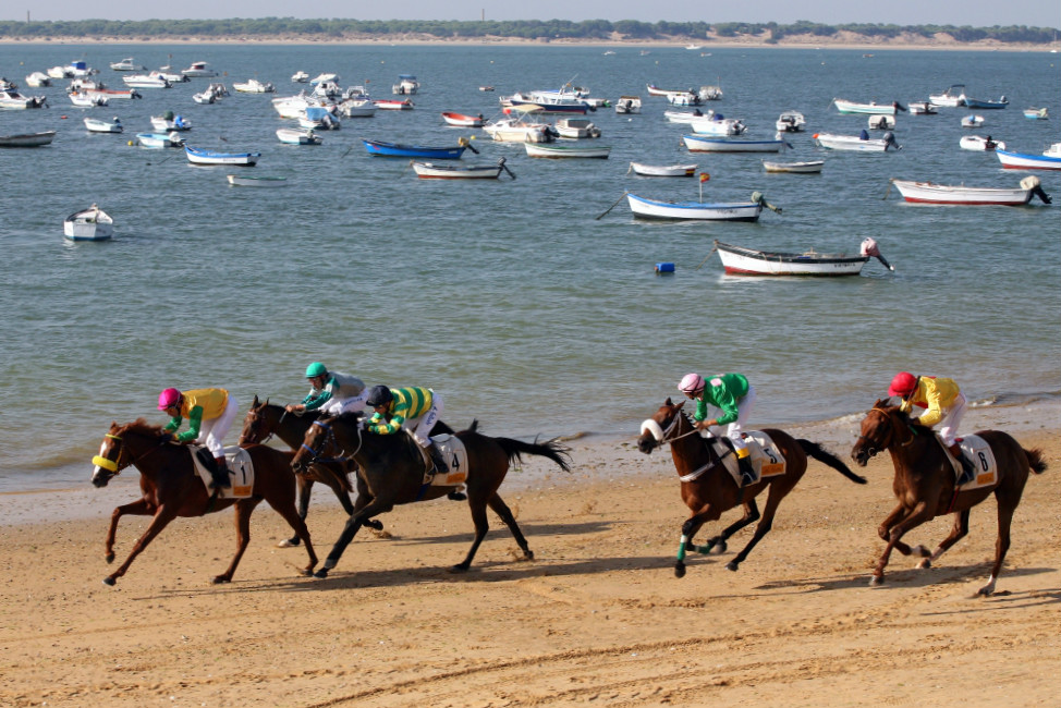 Horse races on the beach of San Lucar de Barrameda, in Cadiz