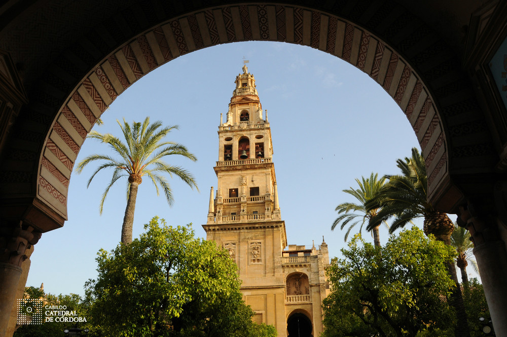 Orange Trees Patio and Minaret in the Mosque-Cathedral of Cordoba