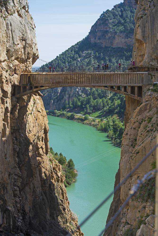 El puente del Desfiladero de los Gaitanes del Caminito del Rey