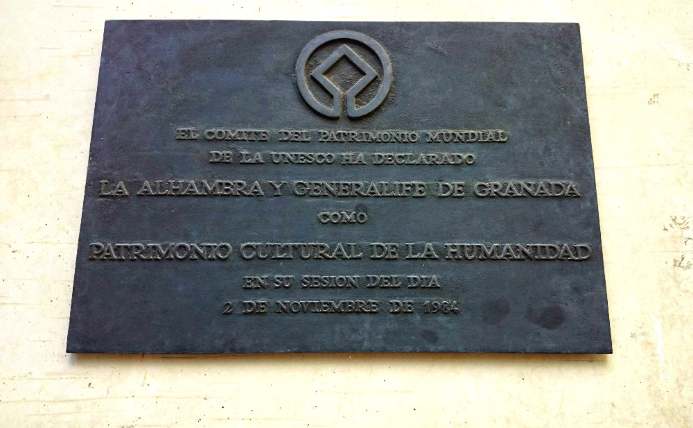 Plaque declaring the Alhambra is a World Heritage Site