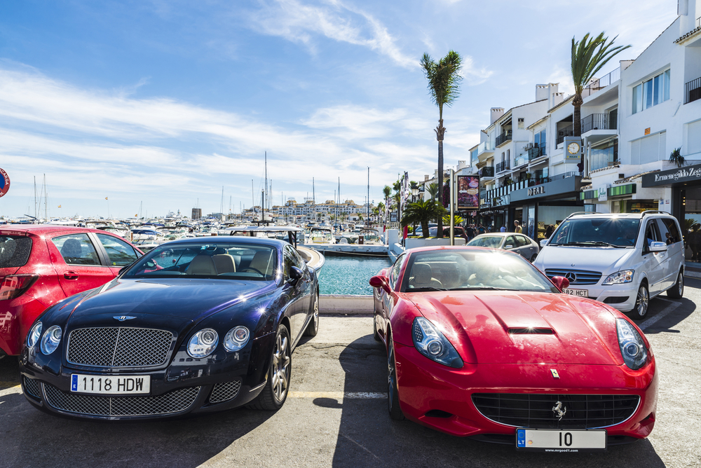 Sporting cars in Puerto Banús
