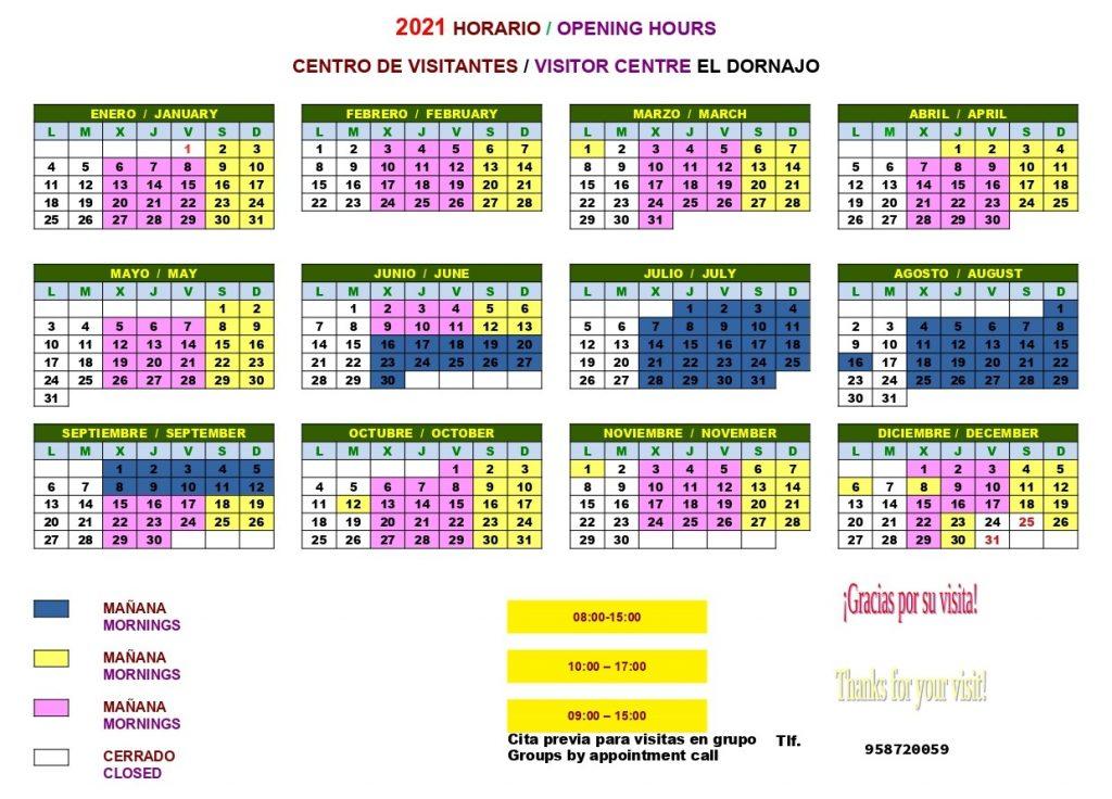 2021 Opening hours of Visitors Centre El Dornajo in the Sierra Nevada National Park