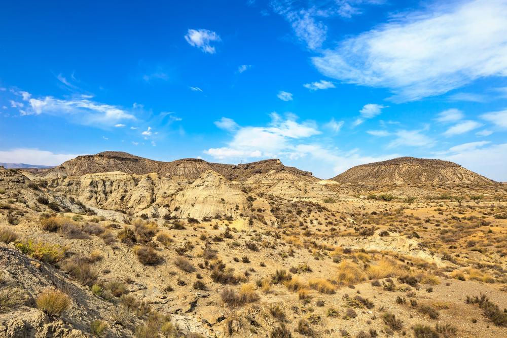 Landschap van het Tabernaswoestijn in Almeria