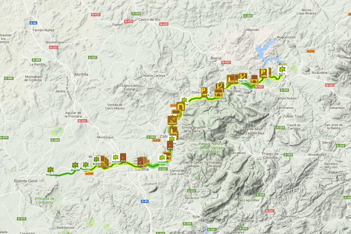Mapa Via Verde de la Subbética