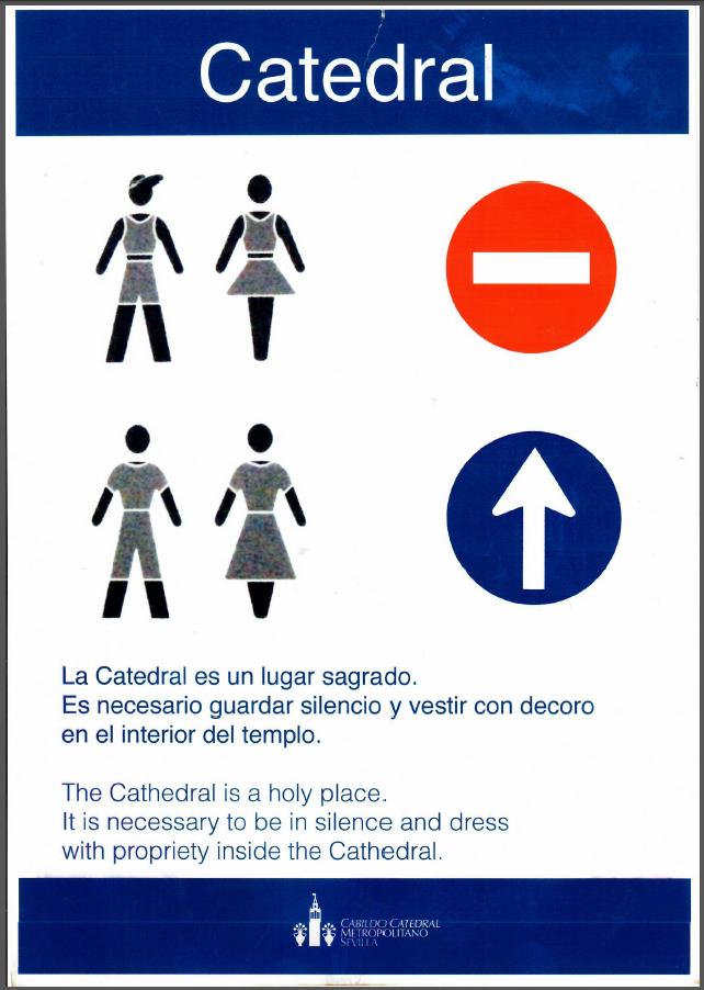 Bekleidungsvorschriften für den Eintritt in die kathedrale von Sevilla
