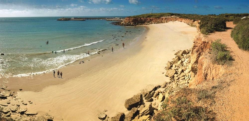 Nudist beach of Cala del Aceite in Conil de la Frontera (Cadiz)