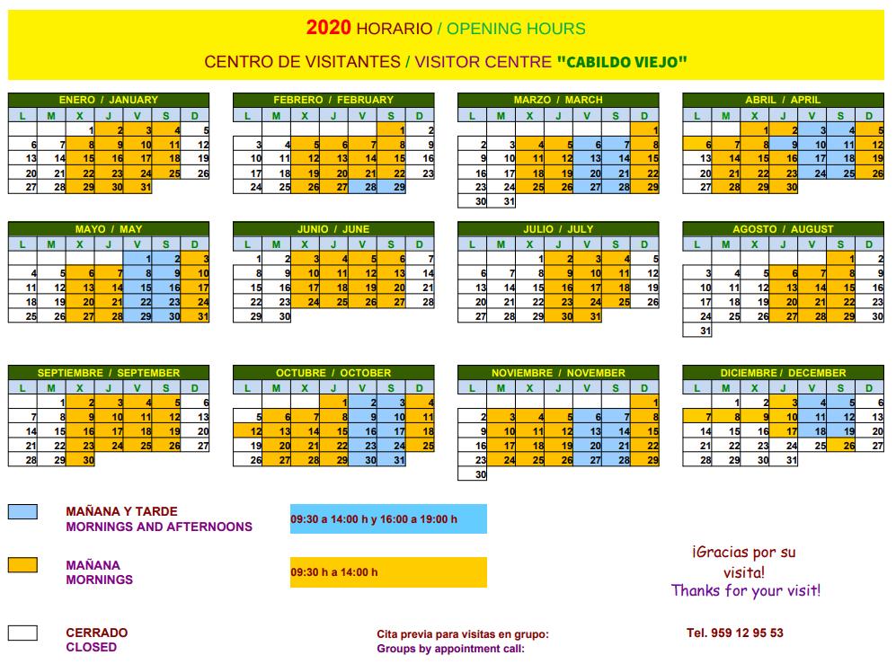 Öffnungszeiten 2020 des Dolmetscherzentrums Cabo Viejo in Aracena