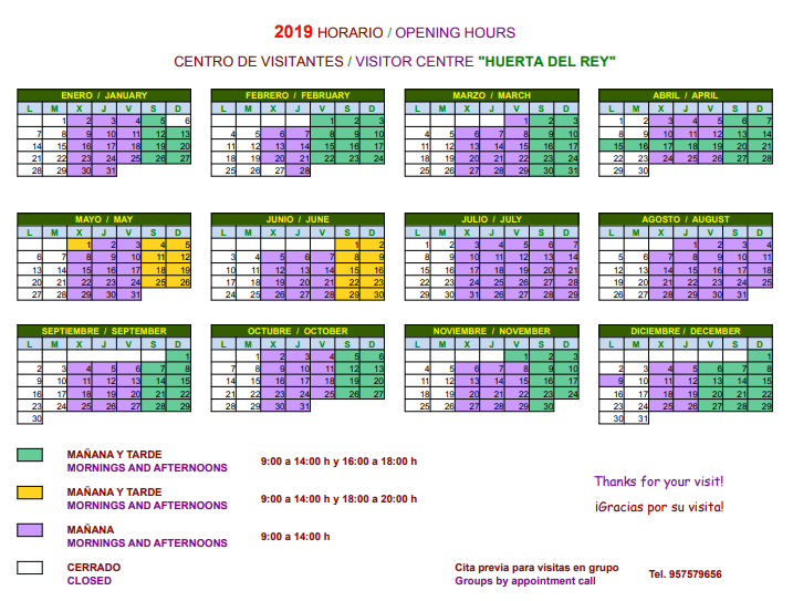 2019 Opening hours of Visitors Centre Huerta del Rey in Hornachuelos