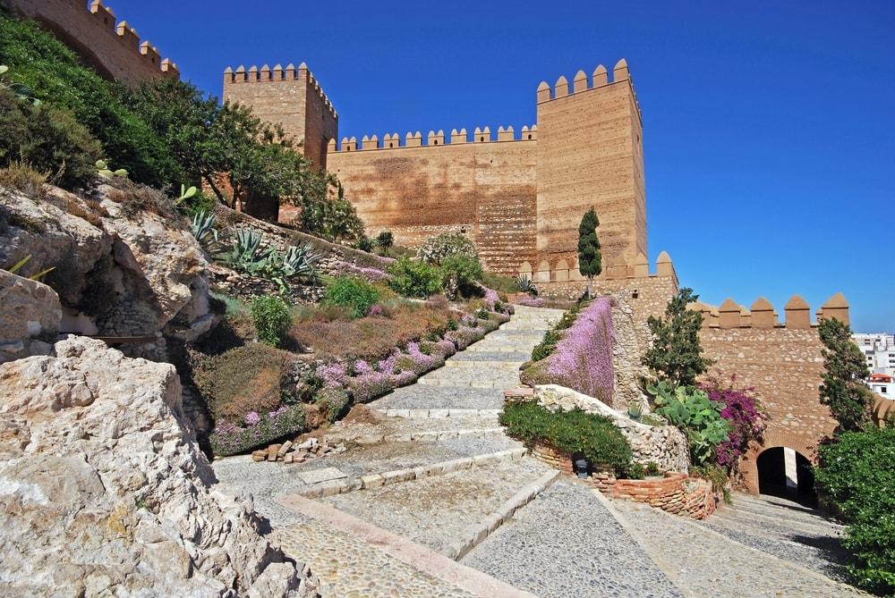 Drie gedeelten van het Alcazaba in Almeria