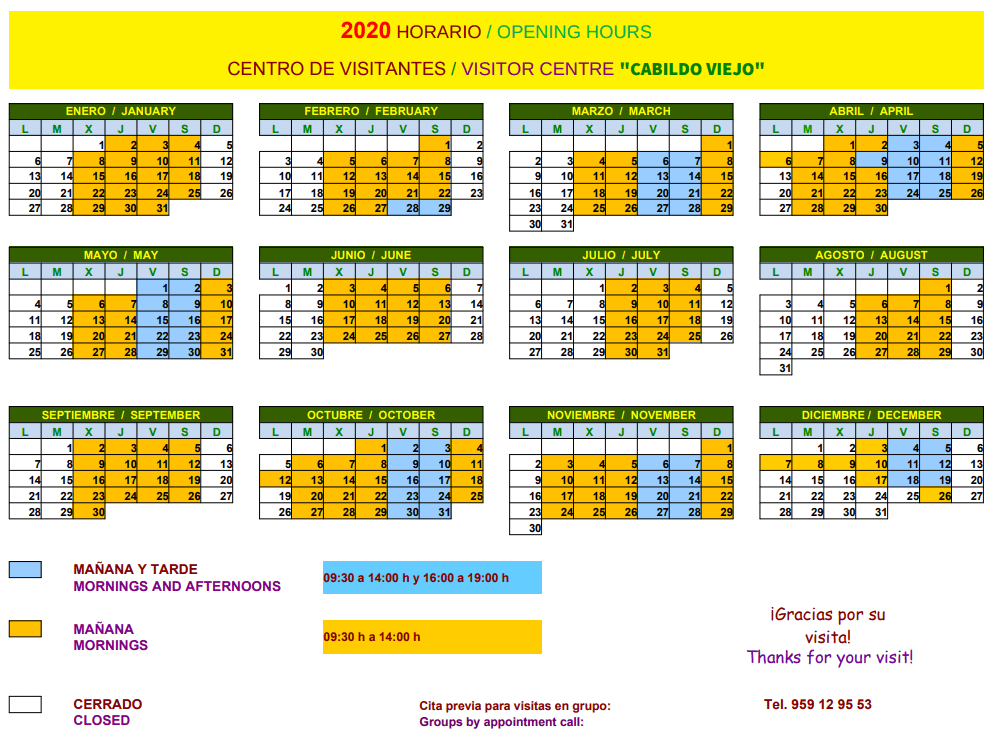 Horario de apertura 2020 Centro de Visitantes Cabildo Viejo en Aracena