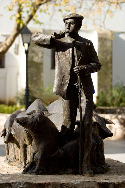 Statue of El Concejil - symbol of the Museum of Ham in Aracena