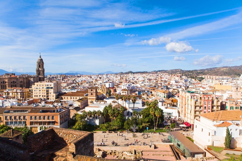 Panoramic views of Malaga with the Cathedral