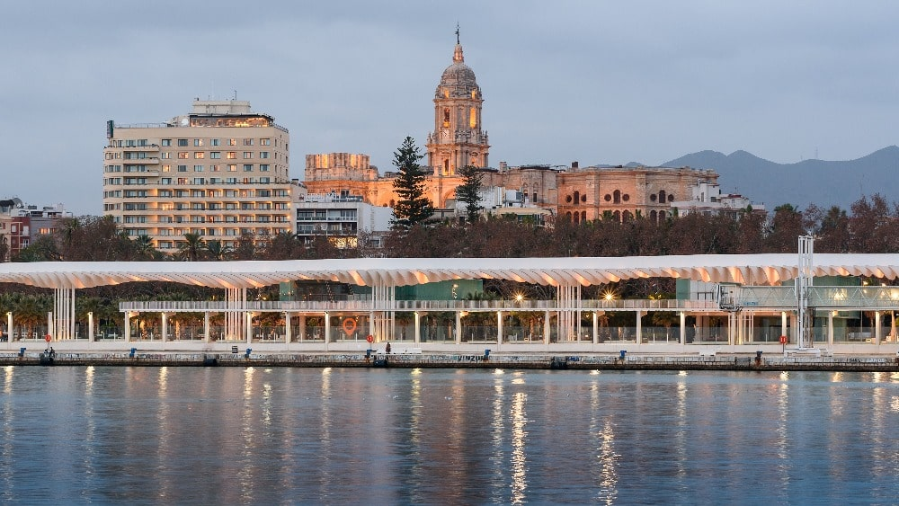 Evening view of the Muelle Uno in Malaga