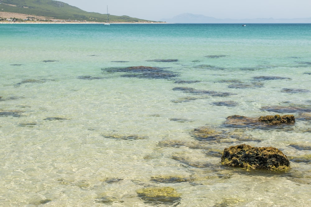 Crystal-clear water of Bolonia beach