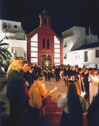 Kirche San Roque während der Karwoche, in Torrox