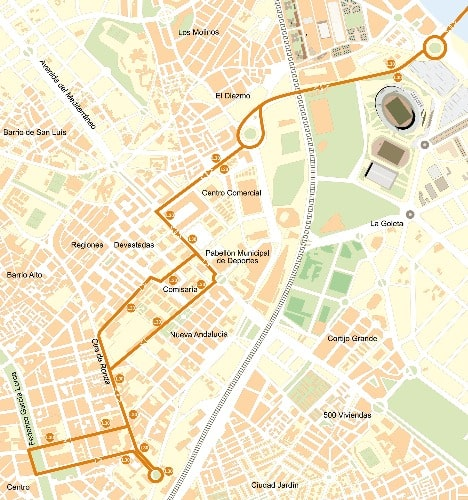 Plano Línea 30 - a Almería desde el aeropuerto en autobús