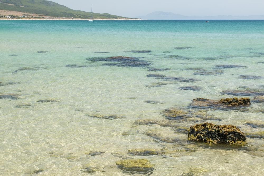 Kristalhelder water van het strand van Bolonia