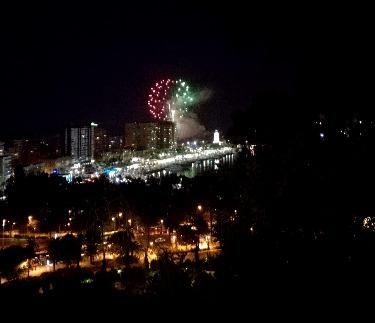 Vuurwerk om de Malaga-beurs te beginnen, gezien vanaf de berg Gibralfaro - Ruralidays