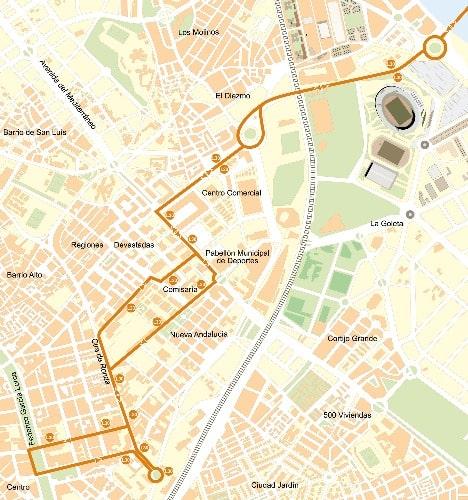 Plan buslijn 30 - vanaf de luchthaven met de bus naar Almeria