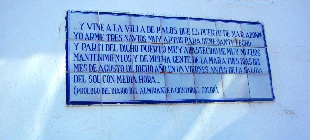 Plaque à Palos de la Frontera, berceau de la découverte de l'Amérique