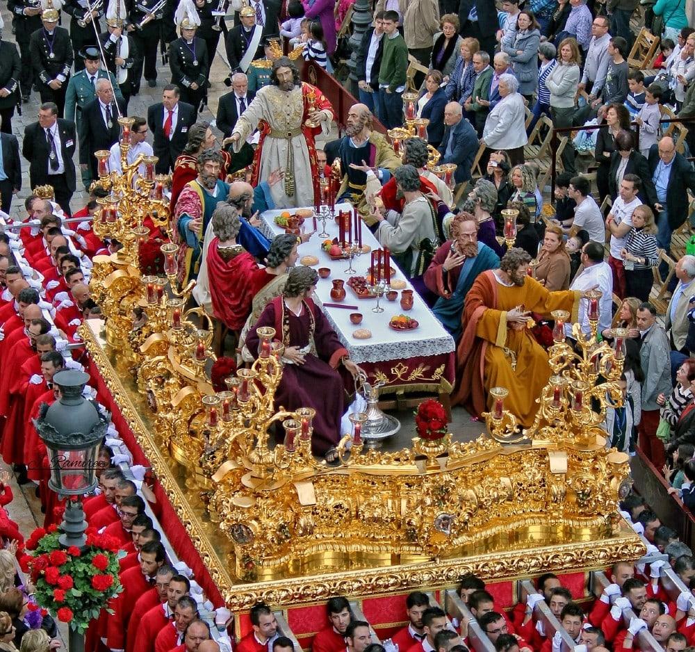 La Cena brotherhood during Holy Thursday in Malaga city