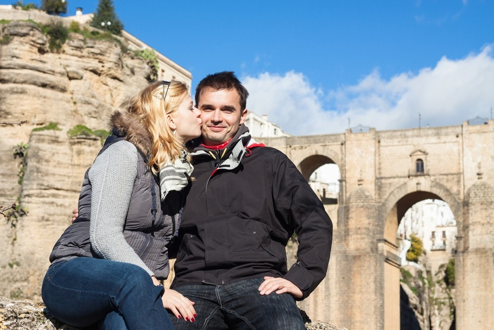 Tourists in Ronda in winter